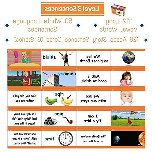 Learn to Phonics, Words, Phrases & Sentence Flashcards - Toddlers, Preschool Champion Reader
