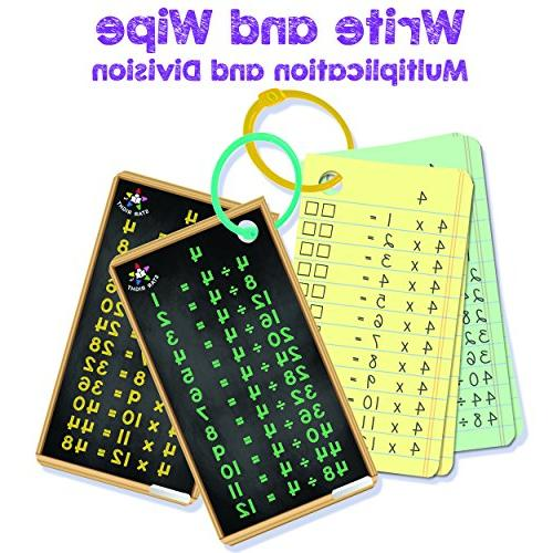 Division Flash Write and Flash Cards Facts Hole Punched, 2 Rings Included, for up