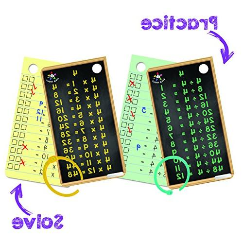 Star Right Multiplication Division Flash Cards, and Wipe Dry Flash Hole 2 Rings Included, Erasable for 6 up