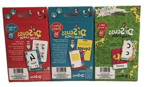 New Seuss Of 3 Cards Numbers, Colors Shapes,