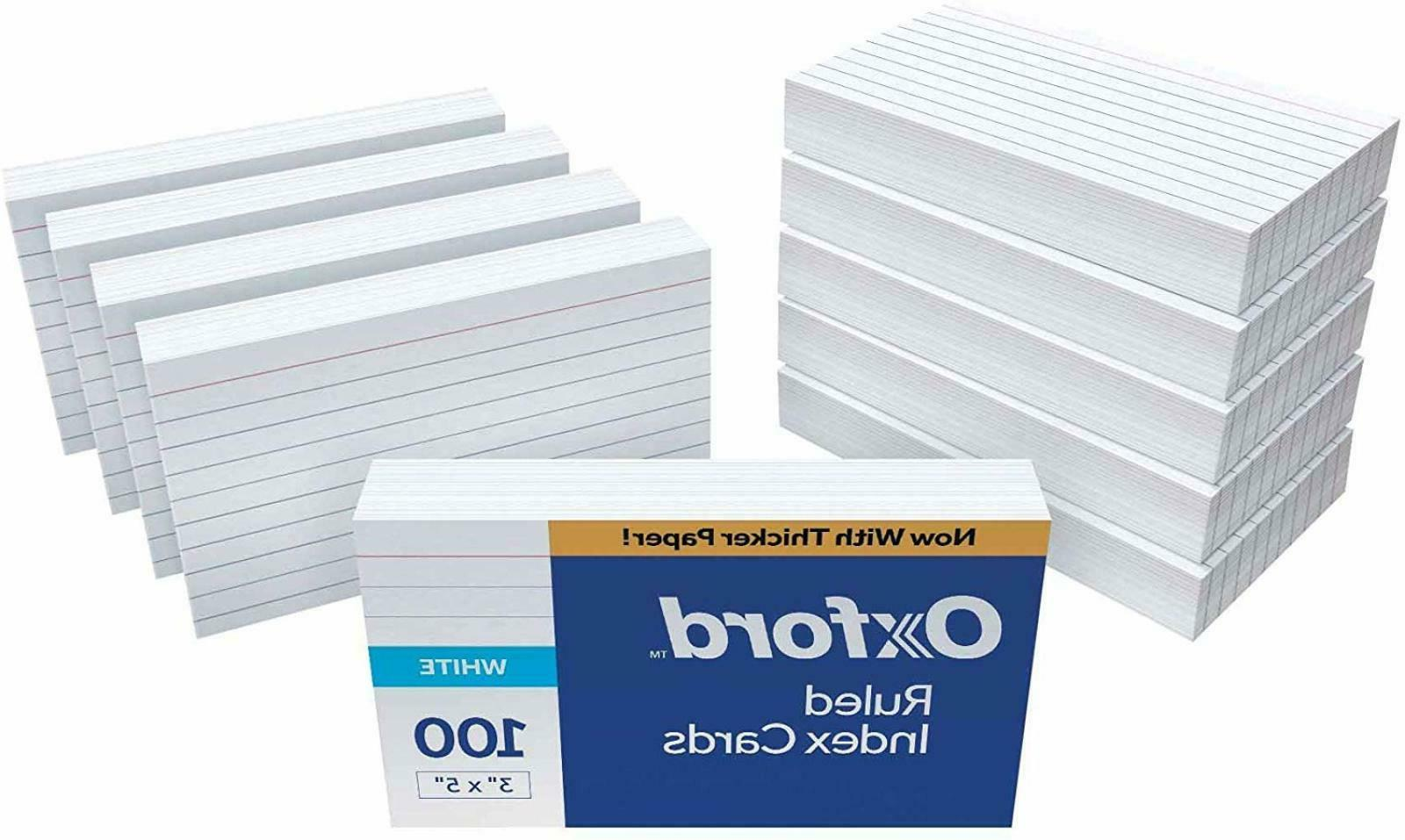 "Oxford Ruled Index Cards 3"" x 5"" White 1,000 Cards 10 Packs"