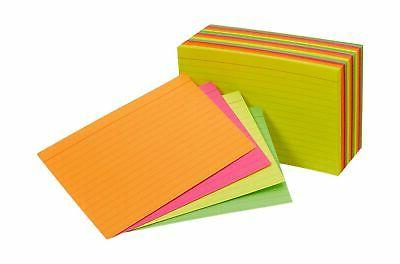ruled index cards assorted neon 4x6 inch