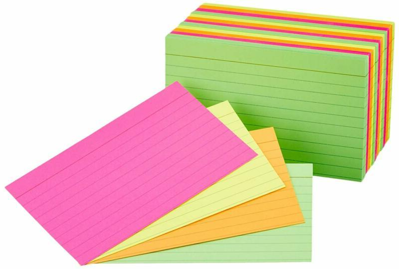 ruled index flash cards assorted neon colored