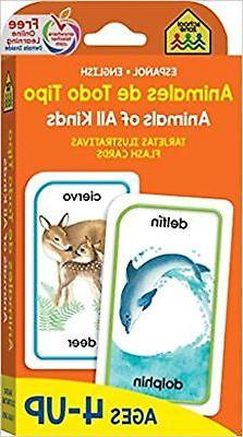 SCHOOL ZONE - Bilingual Animals of All Kinds Flash Cards, Ag