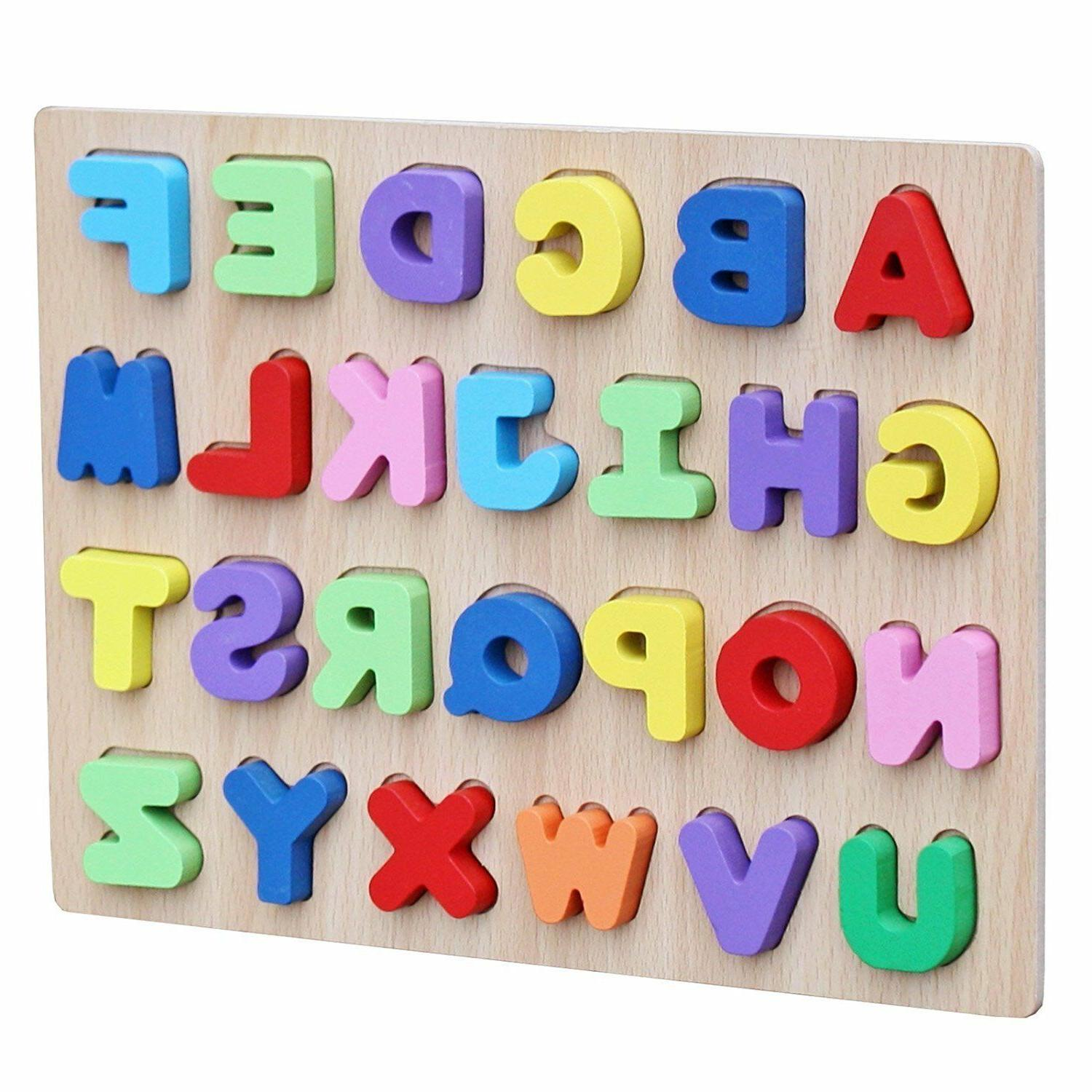 Wooden Colorful Alphabet English Letters Peg Puzzle Jigsaw E