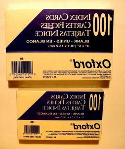 "Lot-2 pack Oxford Blank Index Cards White 100/Pack 4"" x 6"" &"