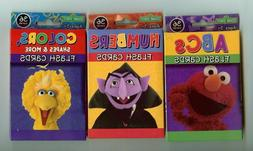 LOT OF 3 SESAME STREET FLASH CARDS - NUMBERS - COLORS & ABCs