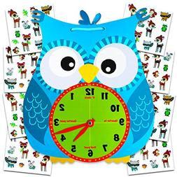 Owl Teaching Clock Set -- 1 Wall Clock for Teaching Time and