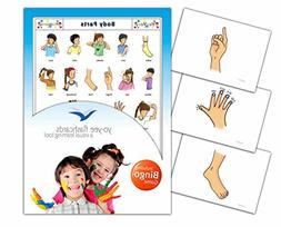 Body Parts Flash Cards in English with Matching Bingo Game C