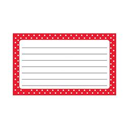 Trend Enterprises Polka Dots Red Lined Terrific Index Cards
