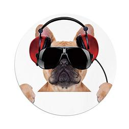 Polyester Round Tablecloth,Popstar Party,Dj Bulldog with Hea