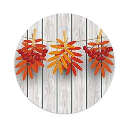 Polyester Round Tablecloth,Rowan,Vibrant Autumn Leaves and R