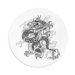 iPrint Polyester Round Tablecloth,Japanese Dragon,Sketch Art