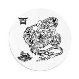 iPrint Polyester Round Tablecloth,Japanese Dragon,Tattoo Art