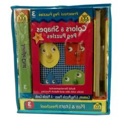 Preschool Colors and Shapes Peg Puzzles Play and Learn Build