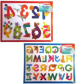 "Set of 2 PLAYSKOOL 11.5"" x 9"" Numbers & Letters 16 Pc Puzzle"