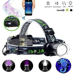 LED Rechargeable Headlamp flashlight With Wireless Bluetooth