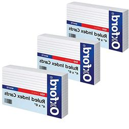 "Oxford Ruled Index Cards, 4"" x 6"", White, 100 Per Pack"