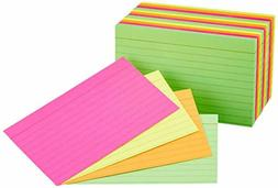 AmazonBasics Ruled Index Cards, Assorted Neon, 3x5-Inch, 300
