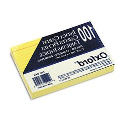 Ruled Index Cards  5 x 8  Canary  100/Pack