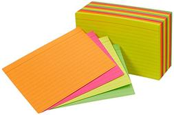 AmazonBasics Ruled Index Cards, Assorted Neon, 4x6-Inch, 300