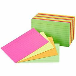 Ruled Index Flash Cards, Assorted Neon Colored, 3x5 Inch, 30