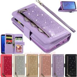 For Samsung Galaxy S7 S8 S9 Note 9 Glitter Leather Case Card