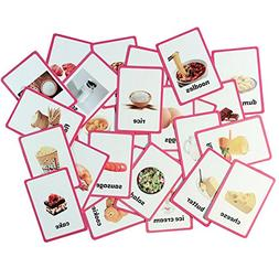Richardy 33PCS/Set Food Kids Gifts English Flash Cards Pocke
