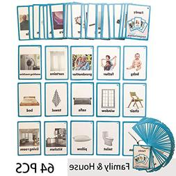 Richardy 62PCS/Set House Kids Gifts English Flash Cards Pock