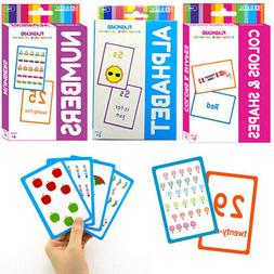 Set of 3 Early Learning Flash Cards Alphabet Letters Colors