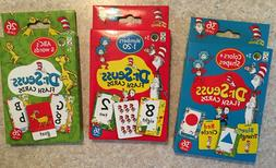 Dr Seuss Set Of 3 Educational Flash Cards Numbers, Colors &
