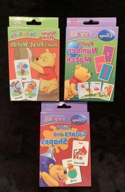 Set Of 3 Disney Pooh's Flash Cards First Words, Color & Shap