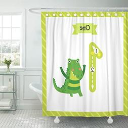TOMPOP Shower Curtain Colorful Cute Children Flashcard Numbe
