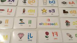 spanish alphabet flash cards 30 colored cards