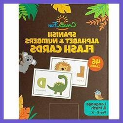 Spanish Animal 123 & ABC Flash Cards For Babies Toddlers Pre