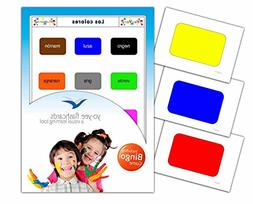 Colours Flashcards in Spanish Language - Flash Cards with Ma