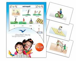 Sports Flashcards in Spanish Language - Flash Cards with Mat