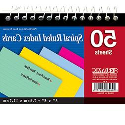 "BAZIC 50 Ct. Spiral Bound 3"" X 5"" Ruled Colored Index Card,"