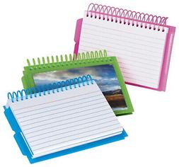 """Oxford Spiral Index Cards with Poly Cover, 4"""" x 6"""", Ruled, W"""
