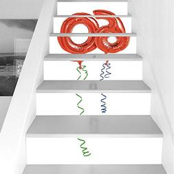 Stair Stickers Wall Stickers,6 PCS Self-adhesive,60th Birthd