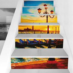 Stair Stickers Wall Stickers,6 PCS Self-Adhesive,Venice,Anti