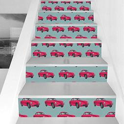 Stair Stickers Wall Stickers,6 PCS Self-adhesive,Cars,Vintag