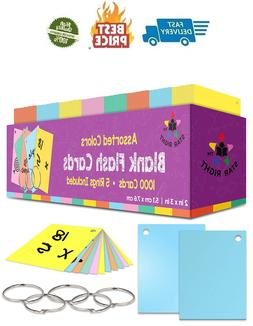 Star Right Blank Flash Cards: 1000 Hole Punched Index Cards