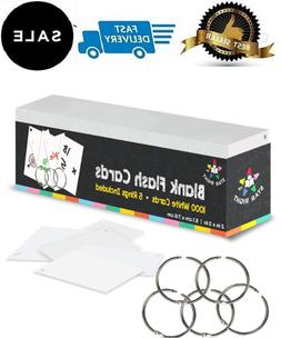 Star Right Blank Flash Cards - 5 Rings, 1000 Index Cards, 2x